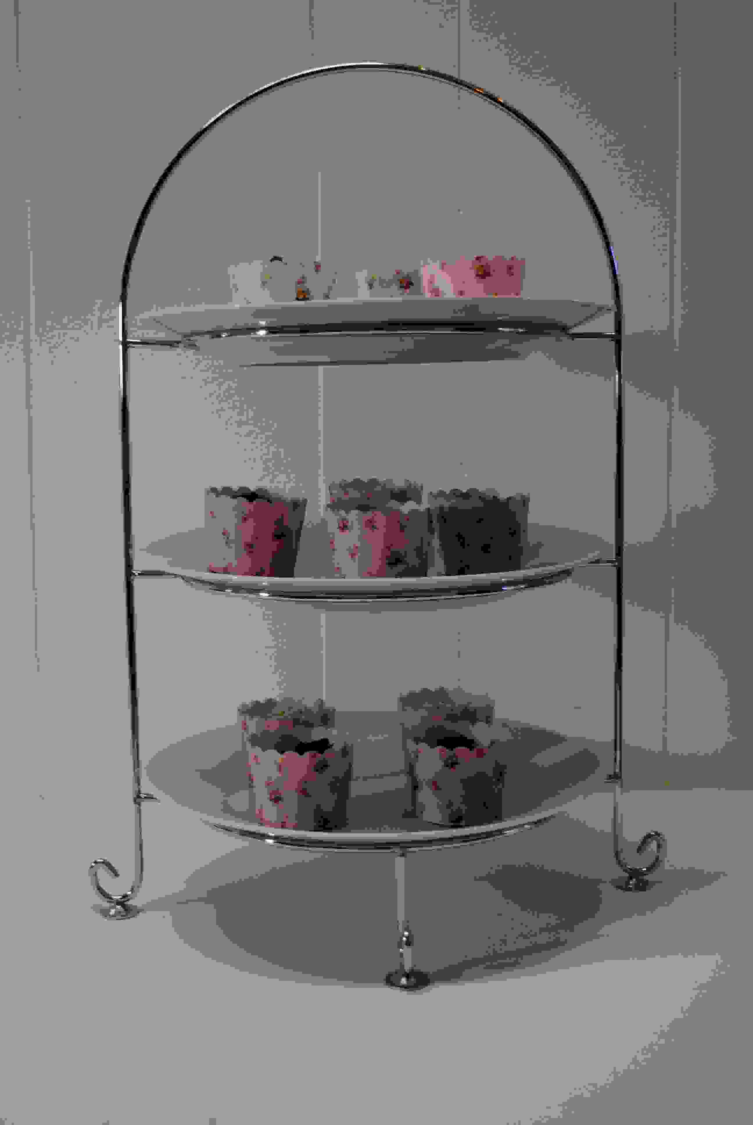 3 Tier Silver Stand - Silver Glass Base