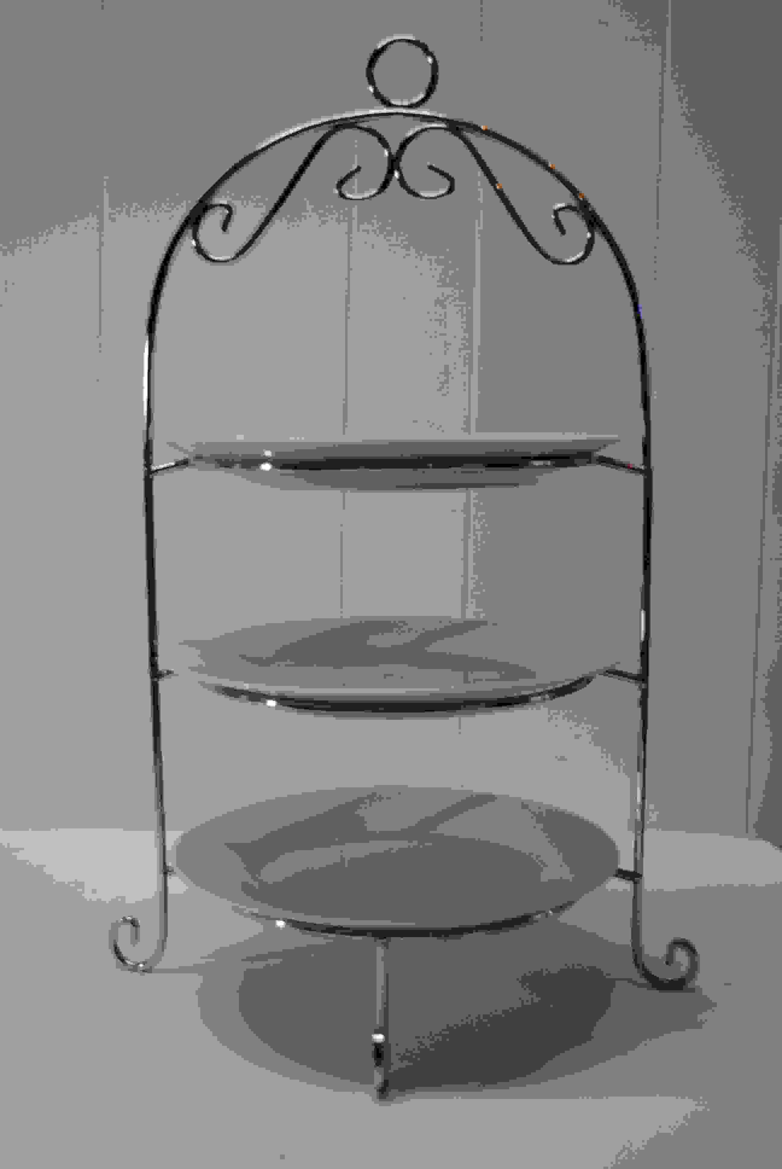 3 Tier Silver Stand - Silver Glass Base with handle