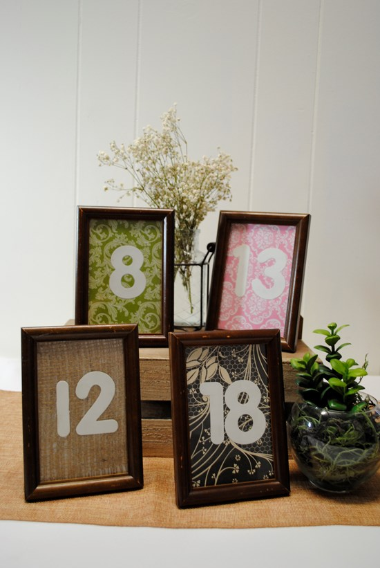 TABLE NUMBERS TIMBER FRAME